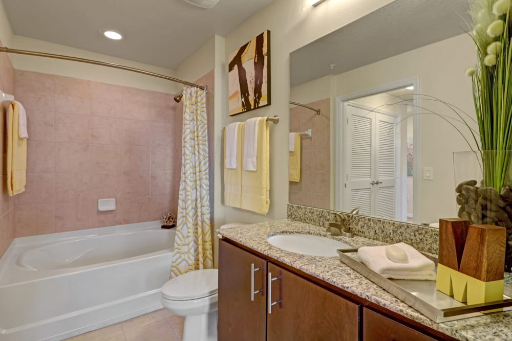 Bright, clean bathroom at Linden Pointe in Pompano Beach, Florida