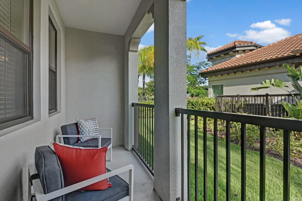 Private balcony at Linden Pointe in Pompano Beach, Florida