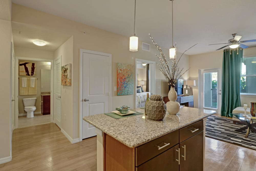 Bright kitchen with pendant lighting at Linden Pointe in Pompano Beach, Florida