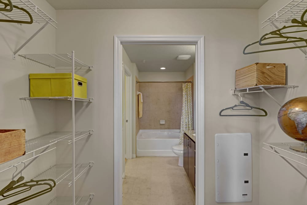 Spacious walk in closet at Linden Pointe in Pompano Beach, Florida