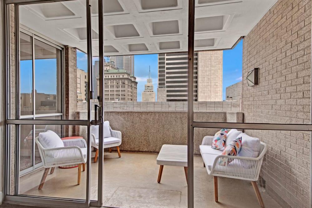 Private balcony at Manor House in Dallas, Texas