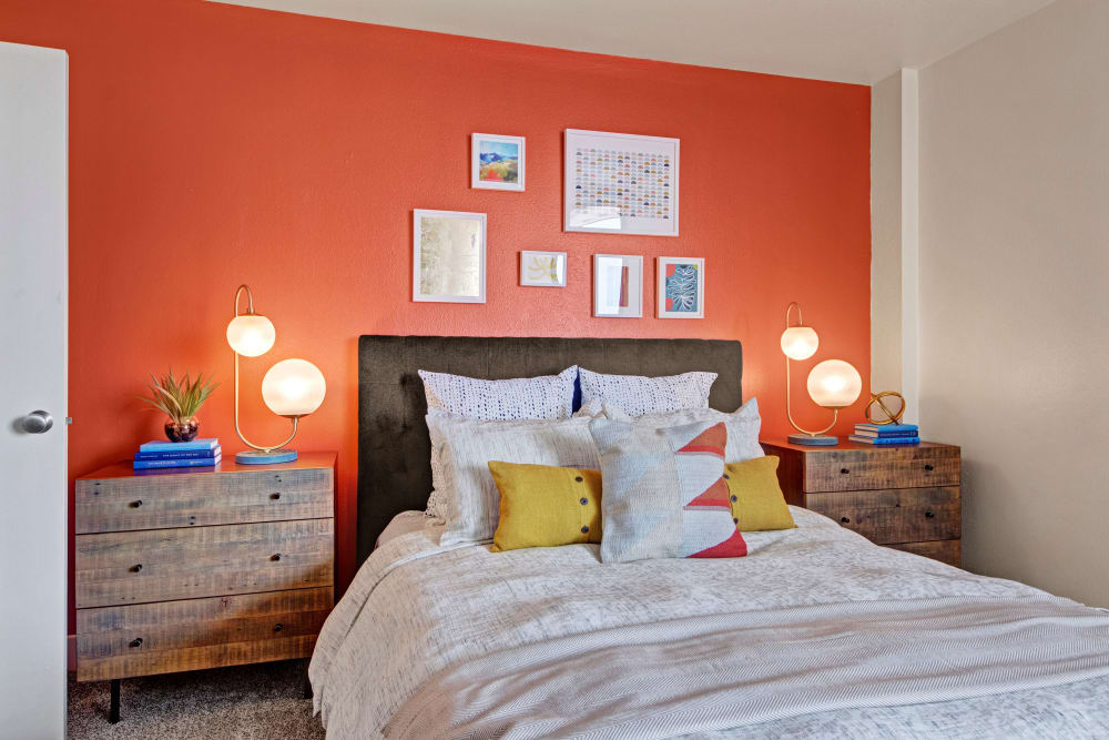 Bright bedroom at Manor House in Dallas, Texas