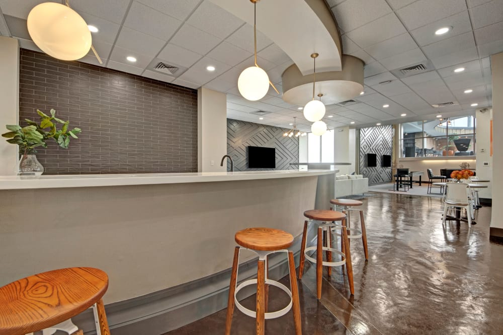 Community kitchen at Manor House in Dallas, Texas