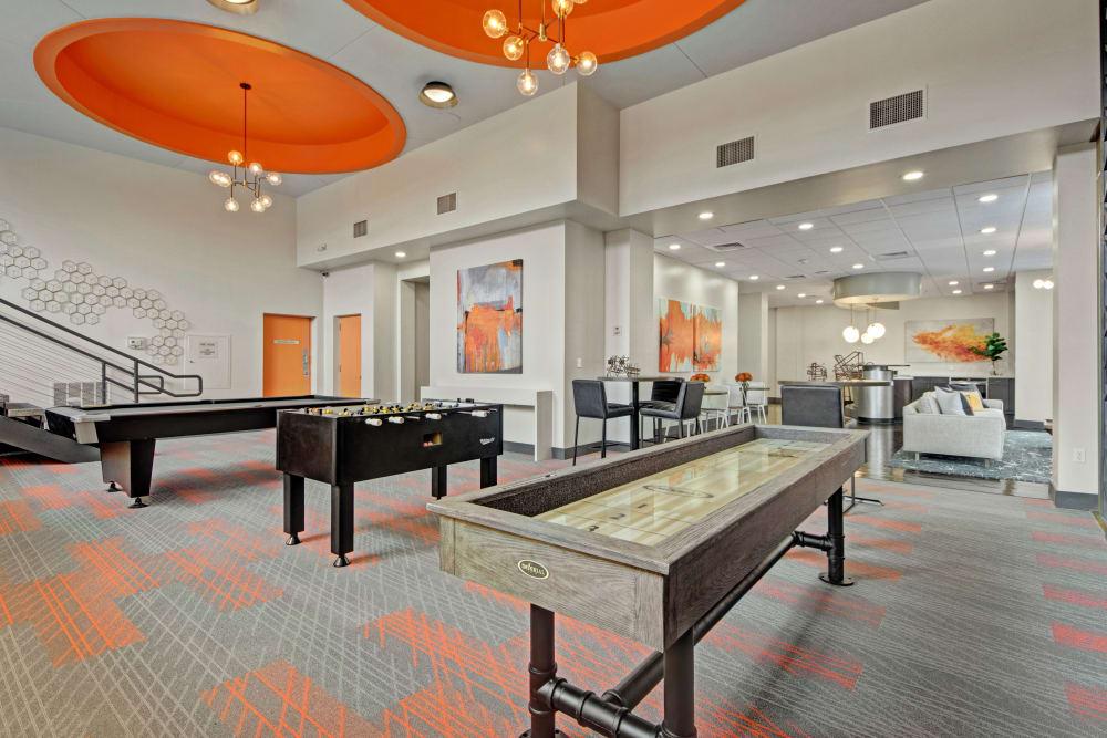 Shuffleboard tables at Manor House in Dallas, Texas