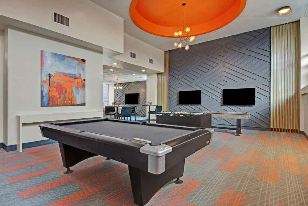 Billiards table in Manor House's clubhouse in Dallas, Texas
