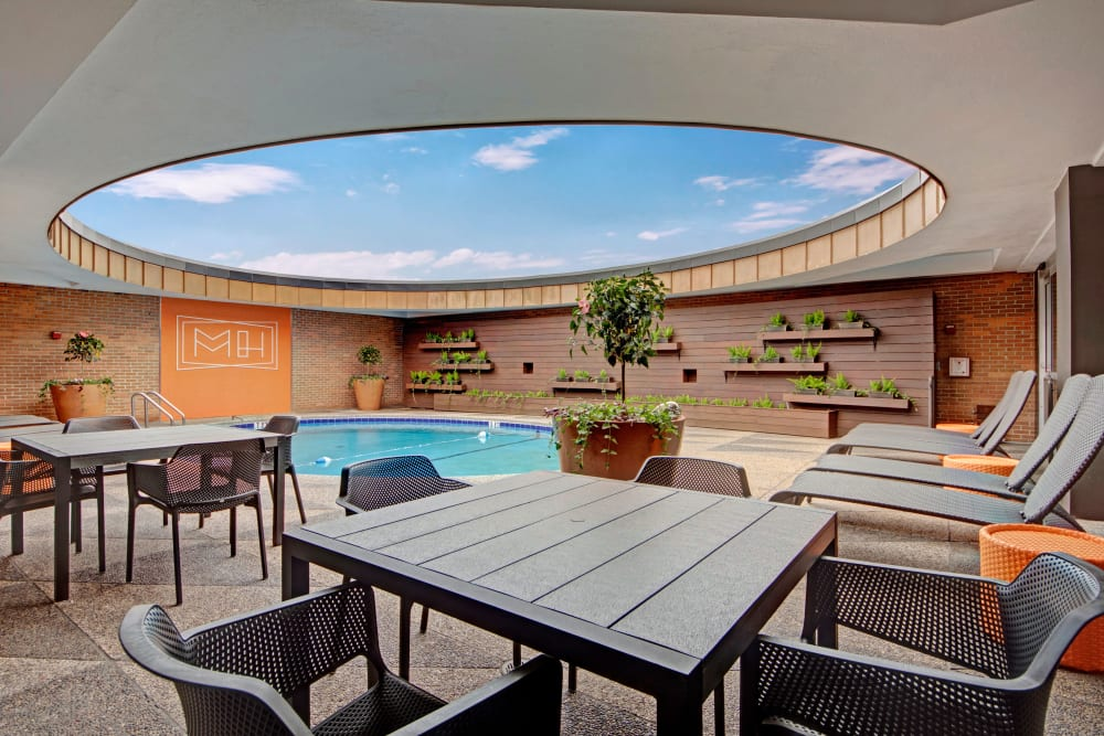 Poolside patio at Manor House in Dallas, Texas