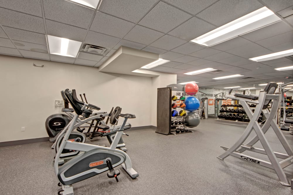 Fitness center at Manor House in Dallas, Texas
