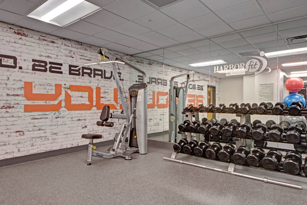 Fully equipped fitness center at Manor House in Dallas,  Texas