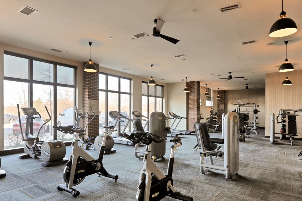 24-Hr Fitness Center at The Mark at Brickyard Apartment Homes in Beltsville, Maryland