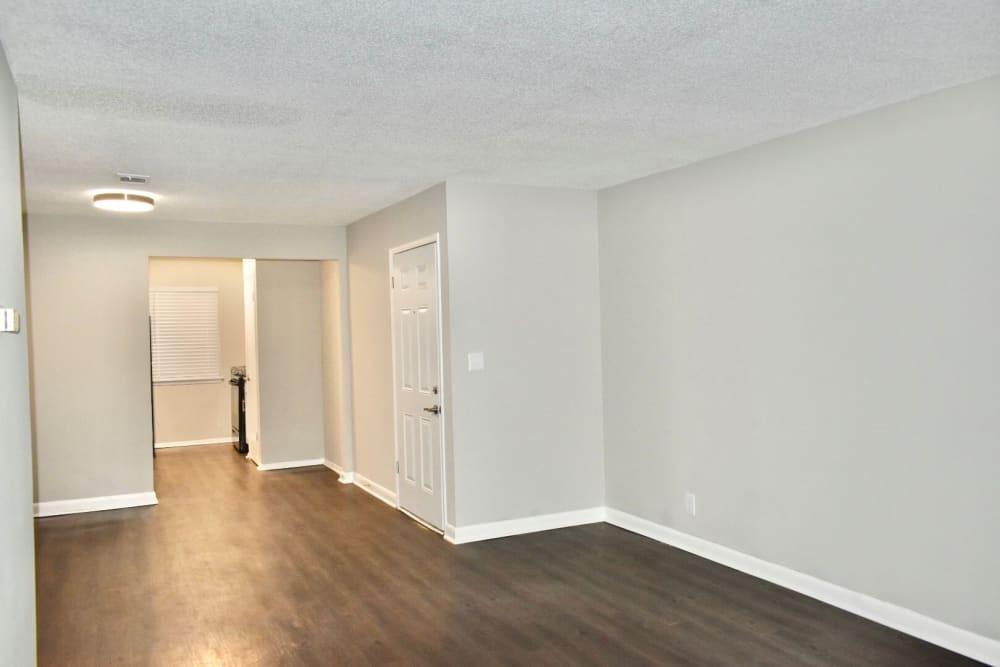 Bedroom with hardwood floors at the Kendall Apartments
