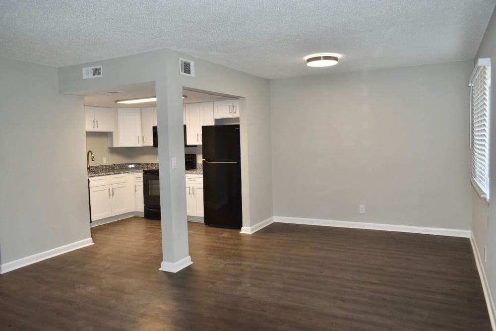 Living room and dining area at the Kendall Apartments