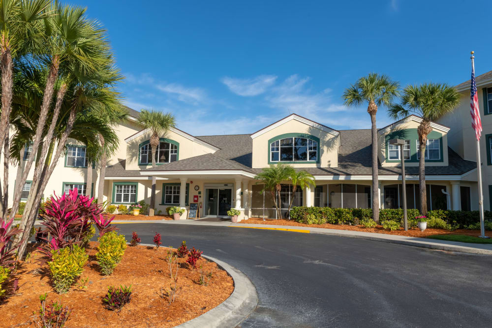 The front of the building at Village Place Senior Living in Port Charlotte, Florida