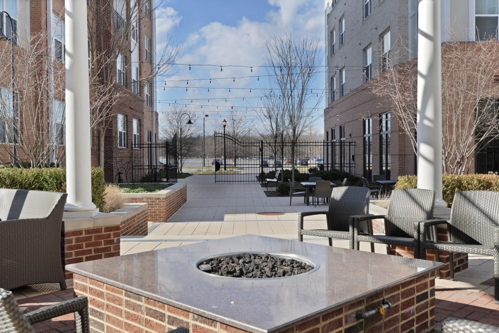 Outdoor fire pit at The Mark at Brickyard Apartment Homes in Beltsville, Maryland