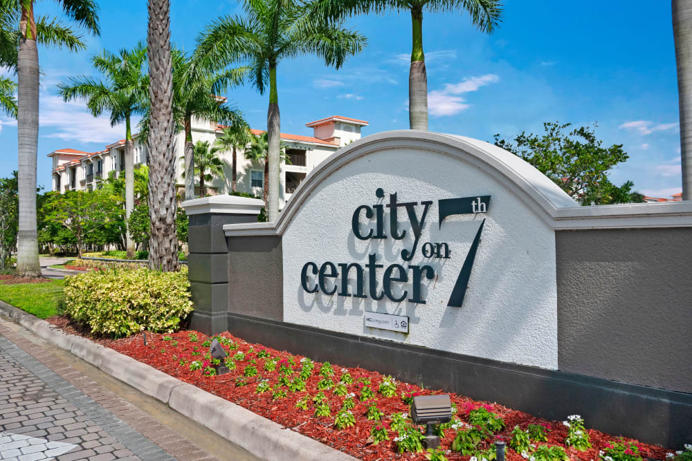 Branding and signage in front of City Center on 7th Apartment Homes in Pembroke Pines, Florida