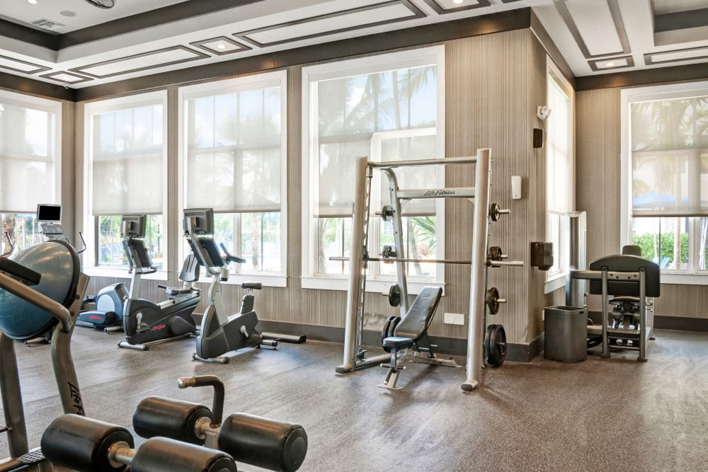 Well equipped fitness center at City Center on 7th Apartment Homes in Pembroke Pines, Florida
