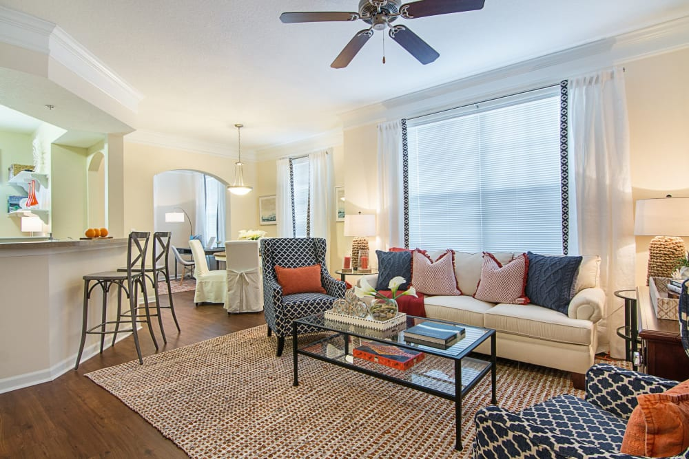 Living room in model apartment at Landings at Four Corners in Davenport, Florida
