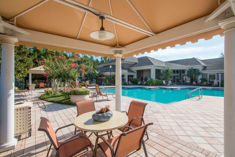 Outdoor dining table by the pool at Landings at Four Corners in Davenport, Florida