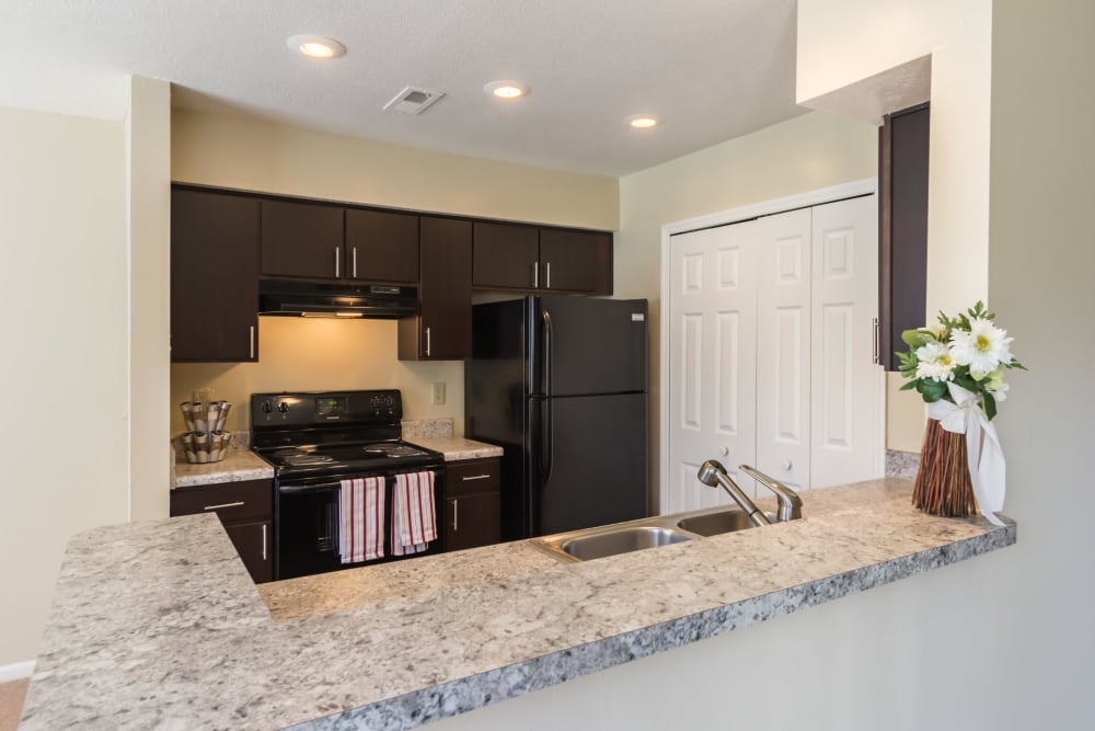 Granite counter tops in a kitchen at Alexander Court in Reynoldsburg, Ohio