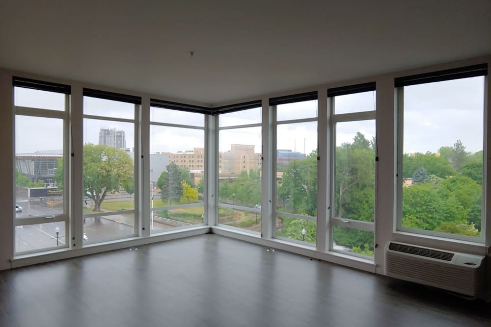 Living room with an amazing view at South Block Apartments in Salem, OR
