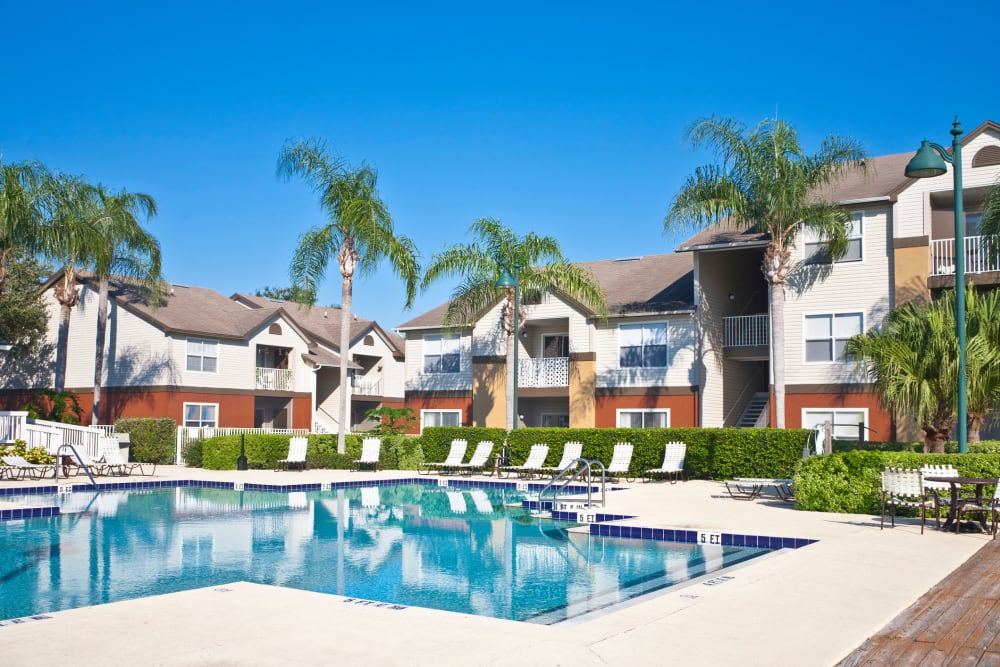 Swimming pool at Highland View Court in Bakersfield, California