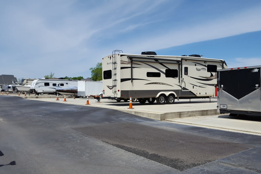 A line of RVs parked at Monster Self Storage in Bonaire, Georgia