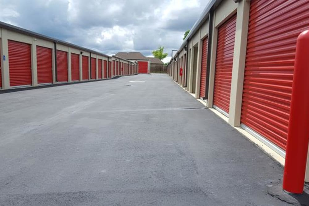 Large outdoor storage units at Monster Self Storage in Bonaire, Georgia