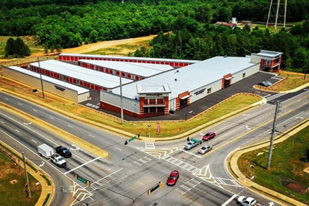 An aerial view of the Monster Self Storage in Warner Robins, Georgia facility