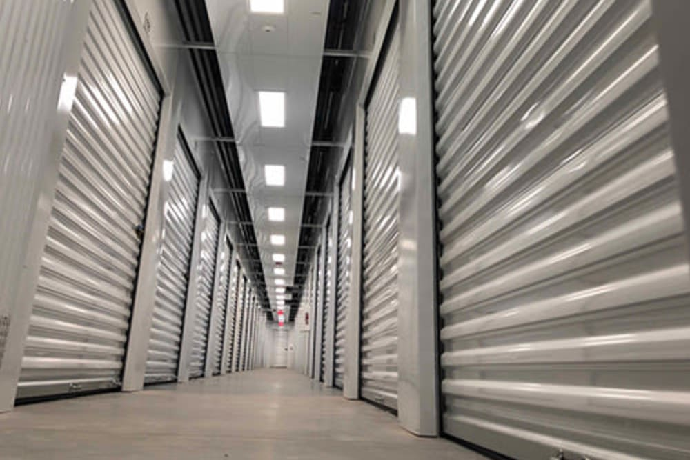 Line of storage units at Monster Self Storage in Warner Robins, Georgia