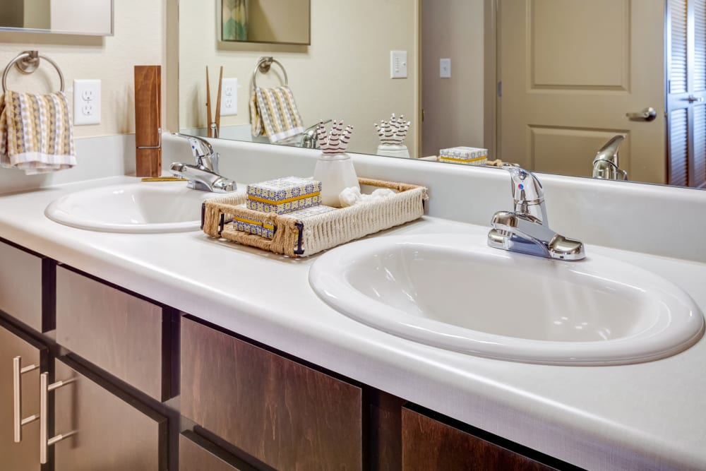 Dual sinks in a model home's bathroom at Granite 550 in Casper, Wyoming