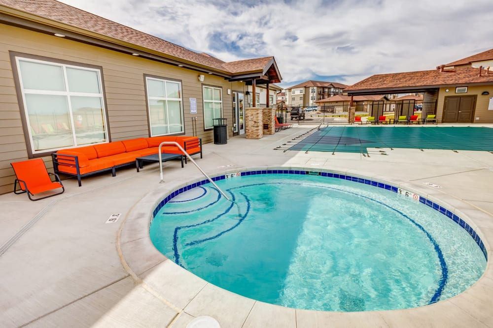 Spa area near the pool at Granite 550 in Casper, Wyoming