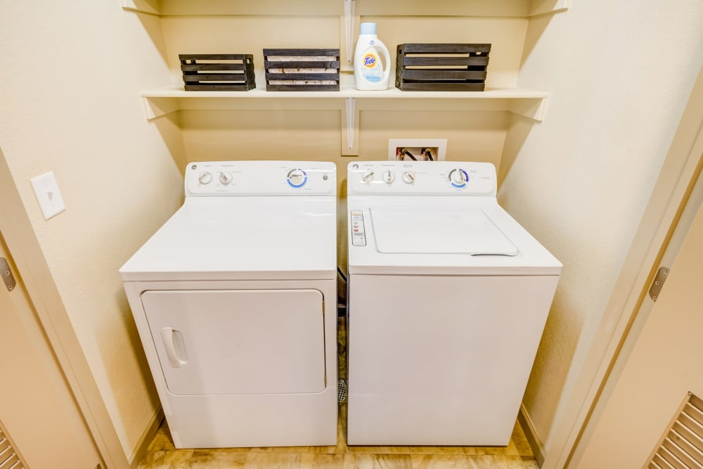 In-unit washer and dryer in a model home at Granite 550 in Casper, Wyoming
