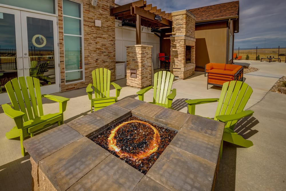 Comfortable seating around the fire pit at Granite 550 in Casper, Wyoming