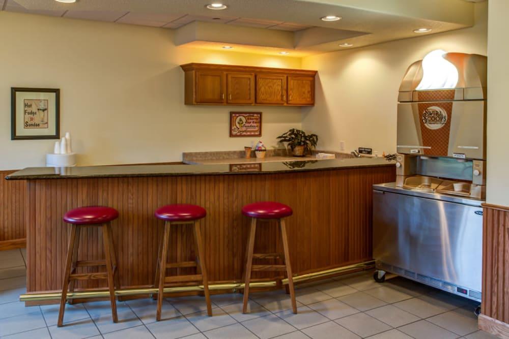 Ice cream bar and machine at Prairie Hills Clinton in Clinton, Iowa.