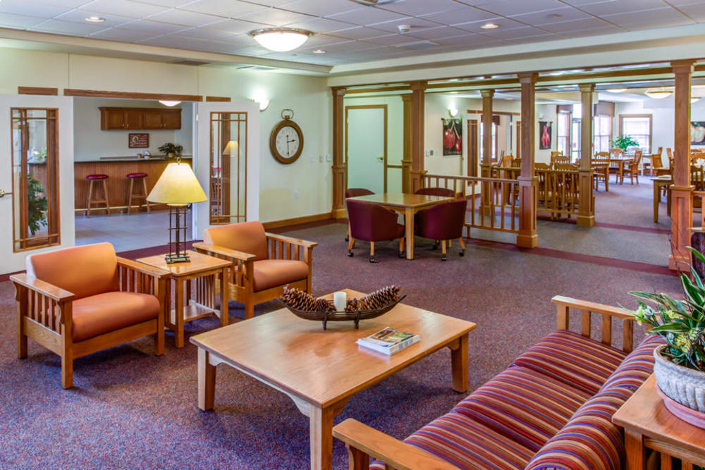 Comfortable seating in resident lounge at Prairie Hills in Clinton, Iowa