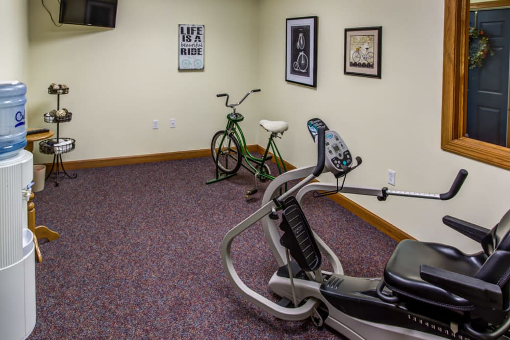 Exercise room with equipment at Prairie Hills in Clinton, Iowa.