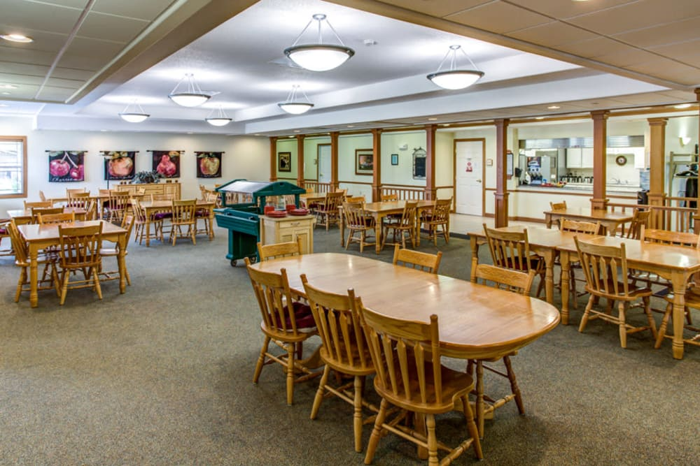 Spacious and brightly lit dining room at Prairie Hills in Independence, Iowa.