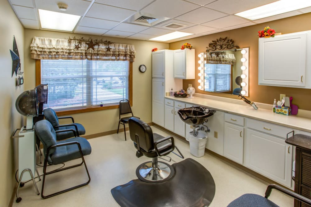 Full service hair salon at Prairie Hills in Independence, Iowa.