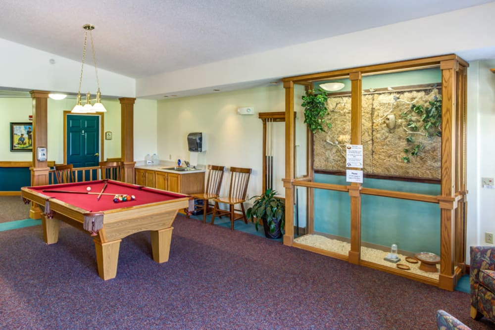 Resident billiard room at Prairie Hills in Independence, Iowa.