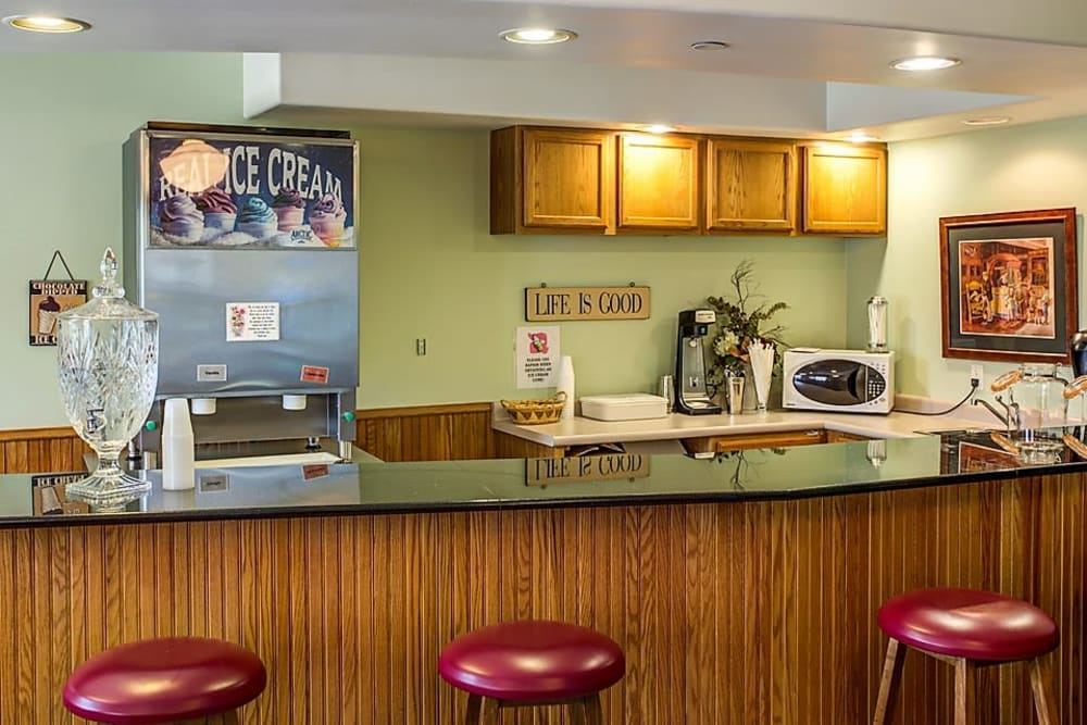 Ice cream station with counter seating at Prairie Hills in Tipton, Iowa.