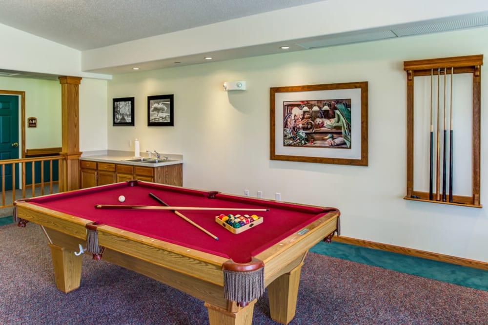 Billiard room at Prairie Hills in Tipton, Iowa.