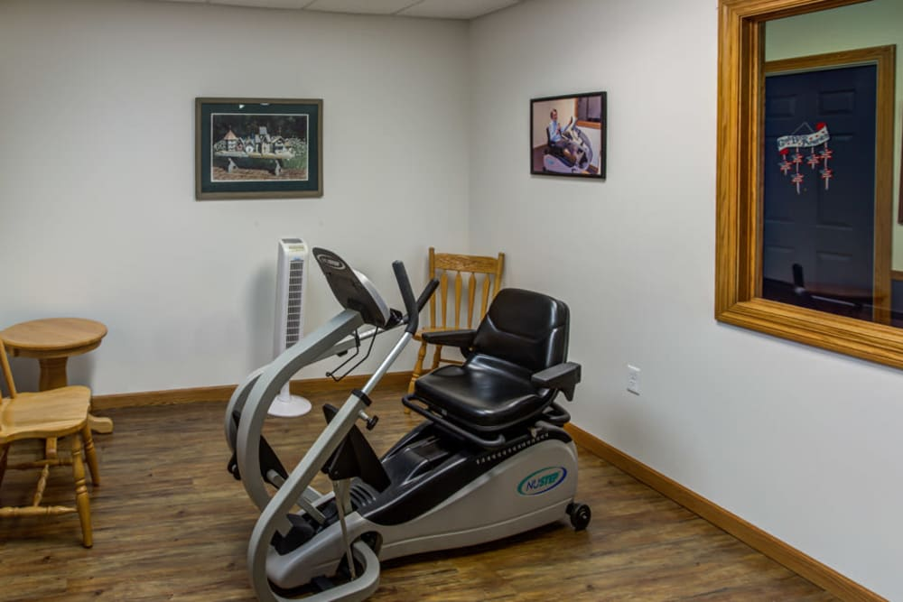 Resident exercise room with equipment at Prairie Hills in Tipton, Iowa.
