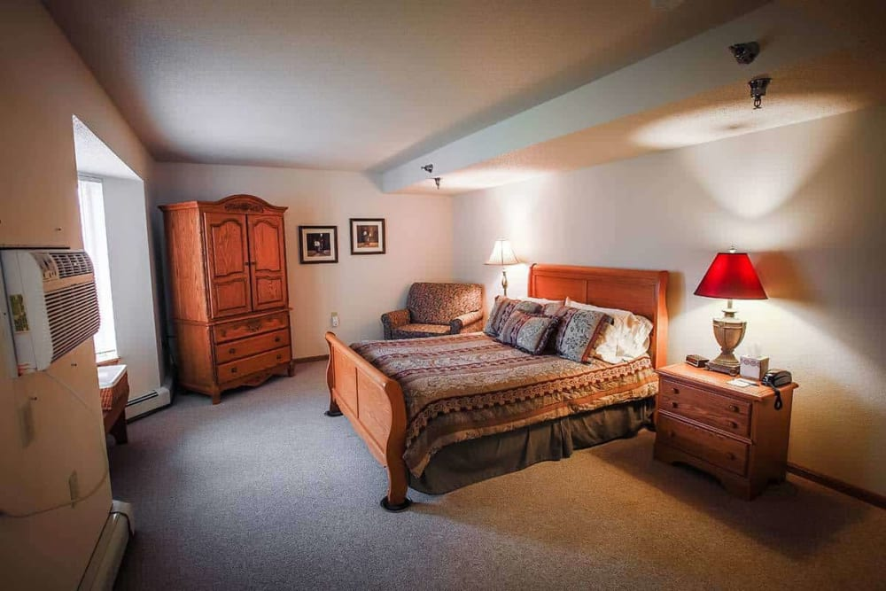 Resident bedroom at Prairie Meadows Senior Living in Kasson, Minnesota.