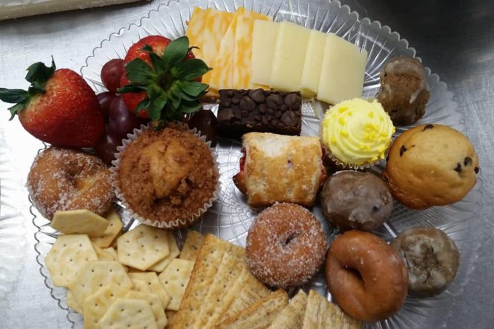 Pastries and snacks for a community event at Prairie Meadows Senior Living in Kasson, Minnesota.