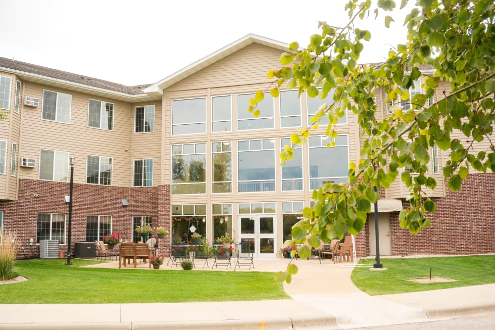 Exterior view of rear entrance at Prairie Meadows Senior Living in Kasson, Minnesota.
