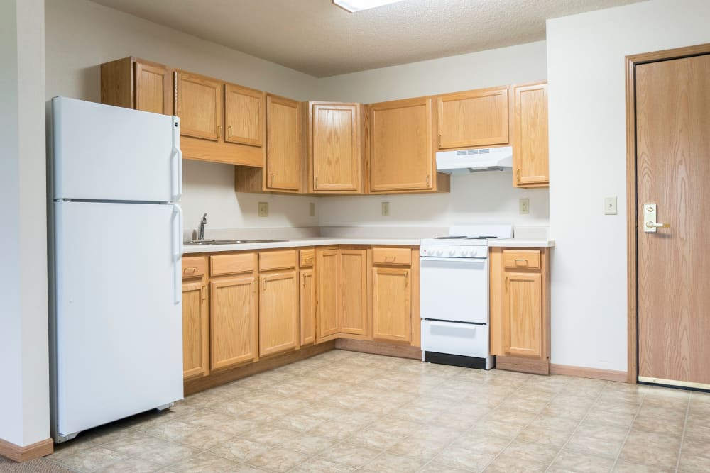 Resident apartments include full kitchens at Prairie Meadows Senior Living in Kasson, Minnesota.