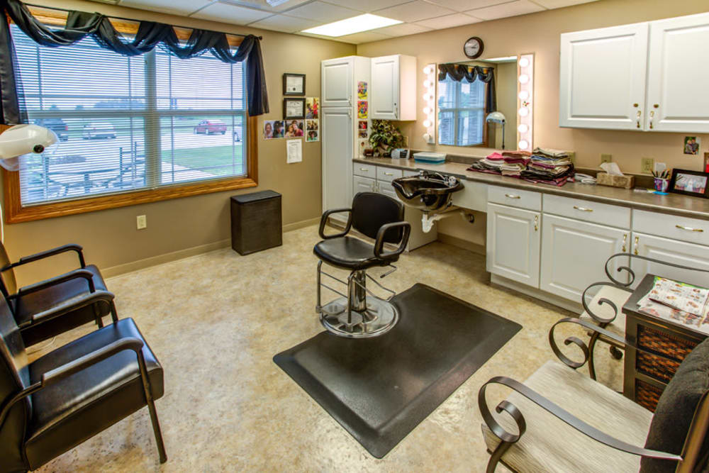 On site hair salon for residents at SunnyBrook Carroll in Carroll, Iowa.