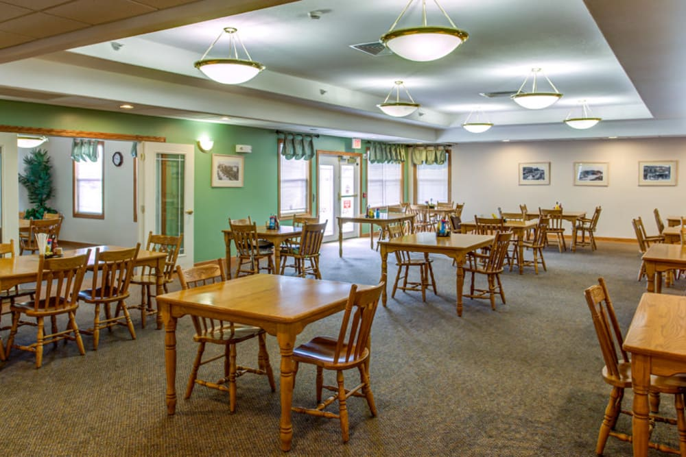 Spacious and brightly lit dining room at SunnyBrook Carroll in Carroll, Iowa.