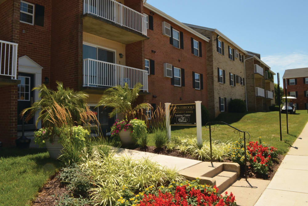 Front entrance at Middlebrooke Apartments & Townhomes in Westminster, Maryland