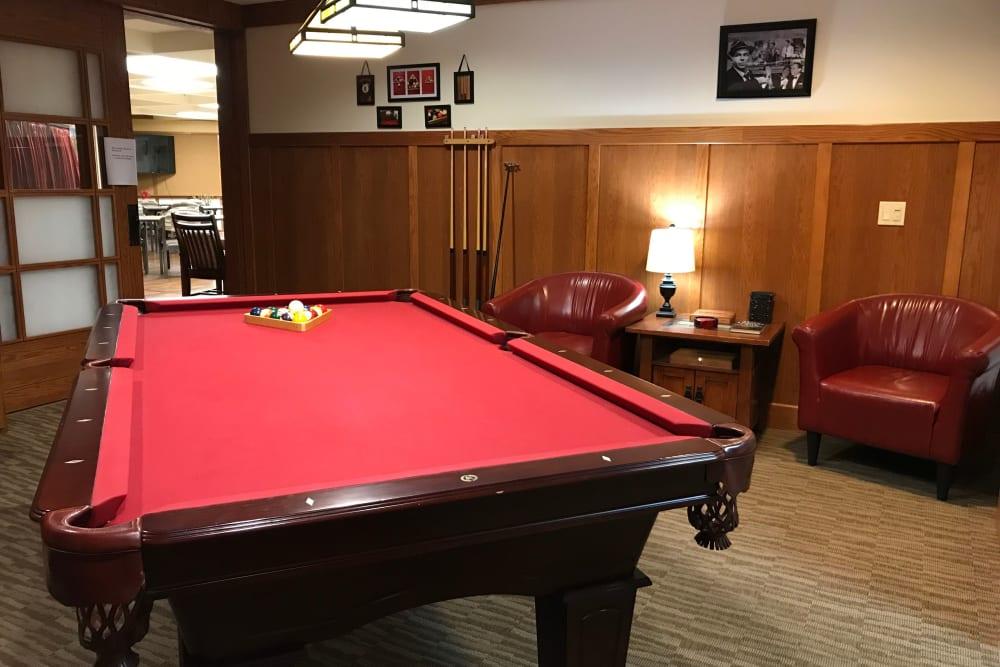 Resident billiard room at Prairie Hills Cedar Rapids in Cedar Rapids, Iowa.