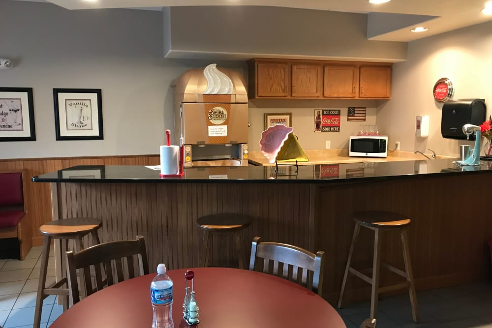 Ice cream machine and snack counter at Prairie Hills Senior Living in Des Moines, Iowa.
